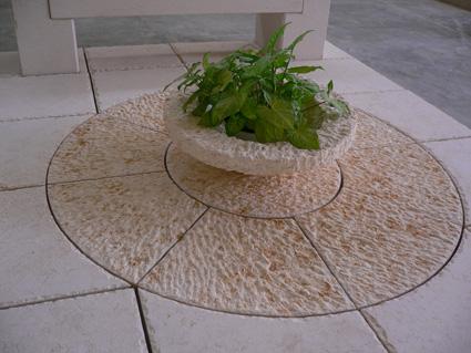 Circular marble floor - plant pot