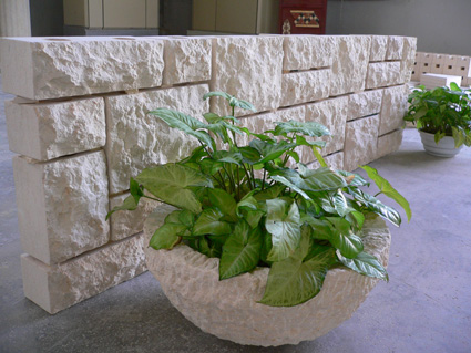 Rock face marble wall pavers plant pot